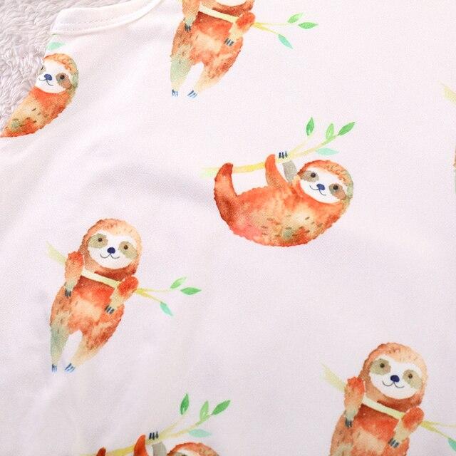 2018 Newborn Baby Rompers 2019 Summer sleeveless Cartoon sloth print Baby boy girl jumpsuit clothing 3