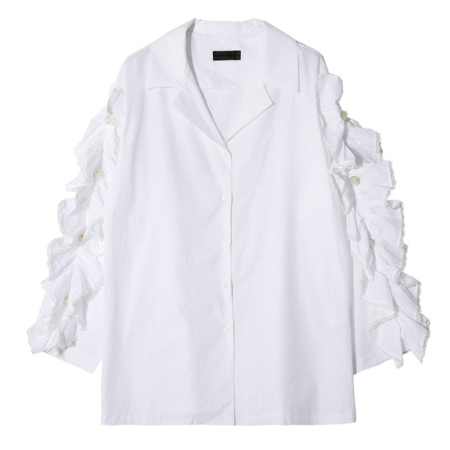 [soonyour]  2017 New spring lapel long sleeve solid color white lace split joint loose thin shirt women fashion all-match J09400