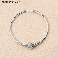 M W JEWELRY Luxury 100 925 Sterling Silver Sparkling Heart Snake Chain Fit Original Beads Charm