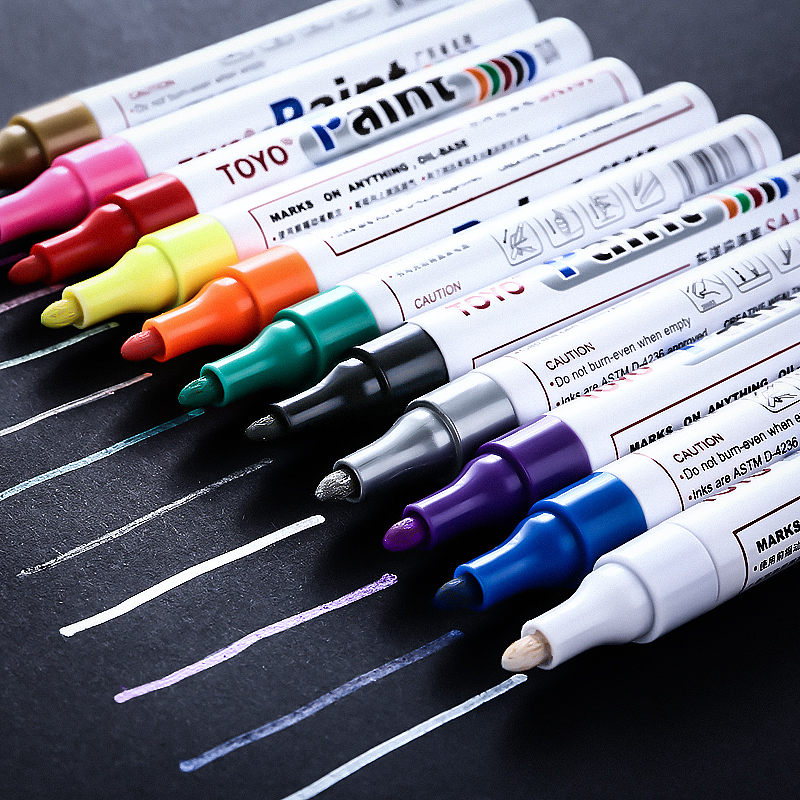Waterproof Paint Pen Oily Marker Pen Not Faded Tire Mark Pen Cloth Plastic Ceramic Glass Wood Touch Up Paint Gold Signature Pen