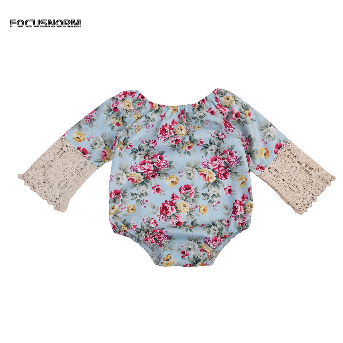Fashion Infant Baby Girls Long Sleeve Floral Bodysuit Lace Patchwork Round Neck Jumpsuit Clothes For Newborn
