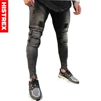2019 Skinny Slim Jeans Destroyed Zipper Biker Pencil Jean Hiphop Fashion Famous Brand Washed Grey For Mens Long Pants #HJA7S