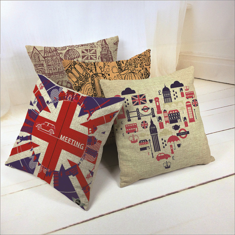 Car Covers Store Cotton Linen British Style London Home Decor Cushion Cover Vintage Throw Pillow