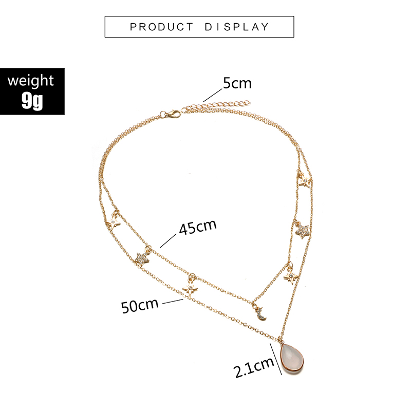 HuaTang Star Moon Pendant Necklace Boho Geometric Crystal Layered Necklaces for Women Girl Waterdrop Opal Collar Choker Jewelry 10