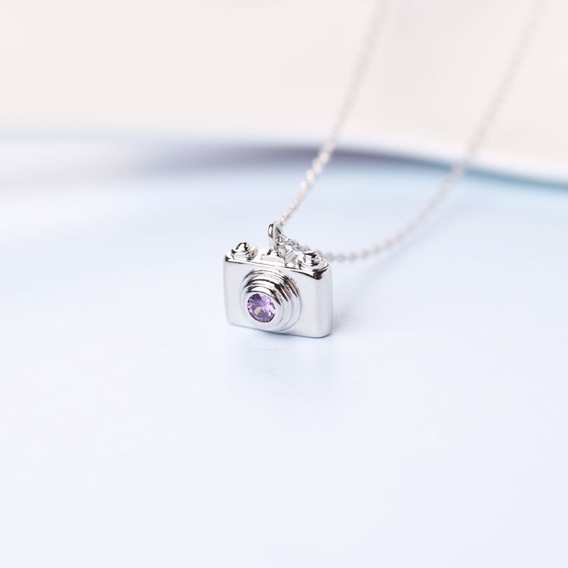 XIYANIKE Trendy Silver Purple Crystal Camera Pendant Necklace Necklace Women Fashion Necklaces for Women Jewelry Gift VNS8329 image