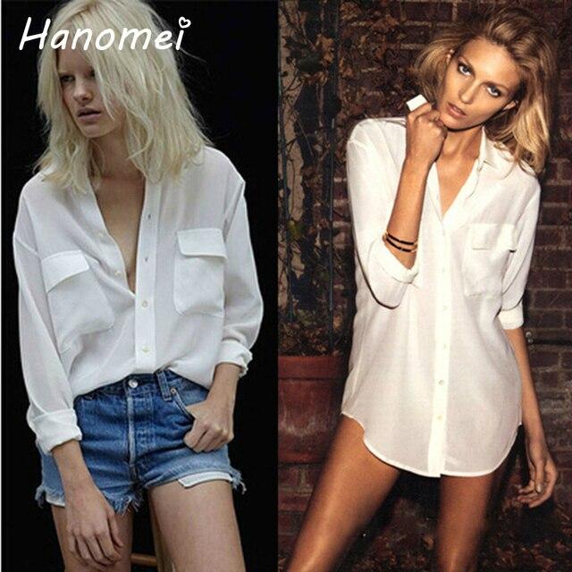 Парень широкий blouse бранка Femininas блузки женские рубашки 2014 краткое Camisa с длинным рукавом два кармана кнопку вверх белая шифон женщин блузка C608