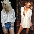 Más Tamaño Novio Suelta camisa feminina Blusinhas 2017 Breve Botón Blanco Gasa de Las Mujeres Camisas de Manga Larga Bolsillos C608