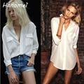 namorado estilo solto blusinhas blusa branca femininas 2014 breve camisas femininas manga longa dois bolsos botão de mulheres blusa chiffon branco c608