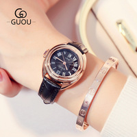 GUOU Fashion Classic Retro Women Wristwatch Roman Rose Gold Calendar Genuine Leather Dress Business Vintage Ladies Girls Watch