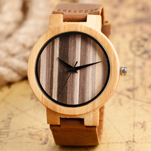 Top Gifts Natural Wooden Watch Men Women Bamboo Stripe Face Simple Analog Clock