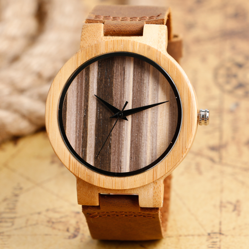 Top Gifts 2017 Natural Wooden Watch Men Women Bamboo Stripe Face Simple Analog Clock Male Genuine Leather Bangle Reloj de madera