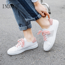 2019 Leather White Sneakers Women Flat Casual Canvas Shoes 2.5cm