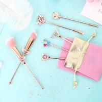 BBL 7 Piece Sailor Moon Rose Gold Makeup Brushes Set Cardcaptor Sakura Wands Reals Foundation Powder Brush Cosmetic Professional