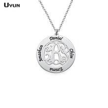 Персонализированные ручной штампованные монограммы семьи ожерелье пользовательские гравированные фамилии семьи ожерелье Популярные матери Дочери ювелирные изделия подарок