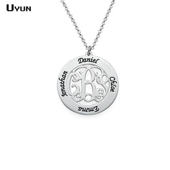 Personalized Initials Family Names Necklace Custom Engraved Names Necklace Hand Stamped Popular Moms Family Jewelry Gift