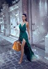 Sexy Spaghetti Straps V-Neck Side Split Prom Dresses Dubai Emerald Green Arabic Long Evening Gowns Party Formal Dress 2019