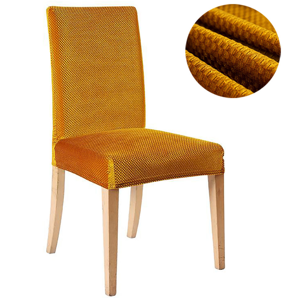 Golden Velvet Fabric Chair Covers For Kitchen/Wedding Elastic Chair Covers Spandex Dining Room Chair Cover With Back