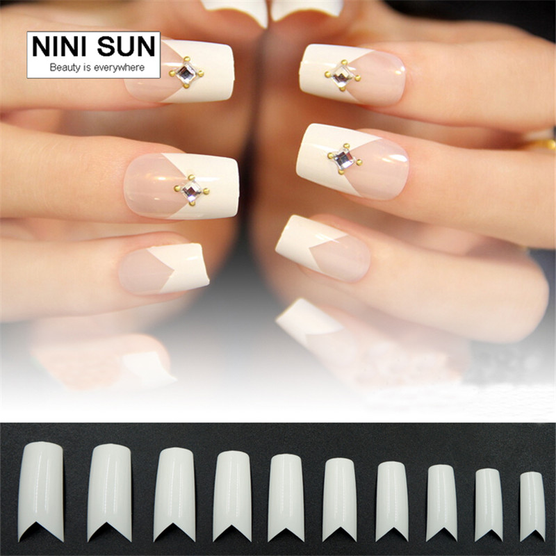 500PCS/Set +50pcs free Fake Nail Salon Curved Nail Tips White V ...