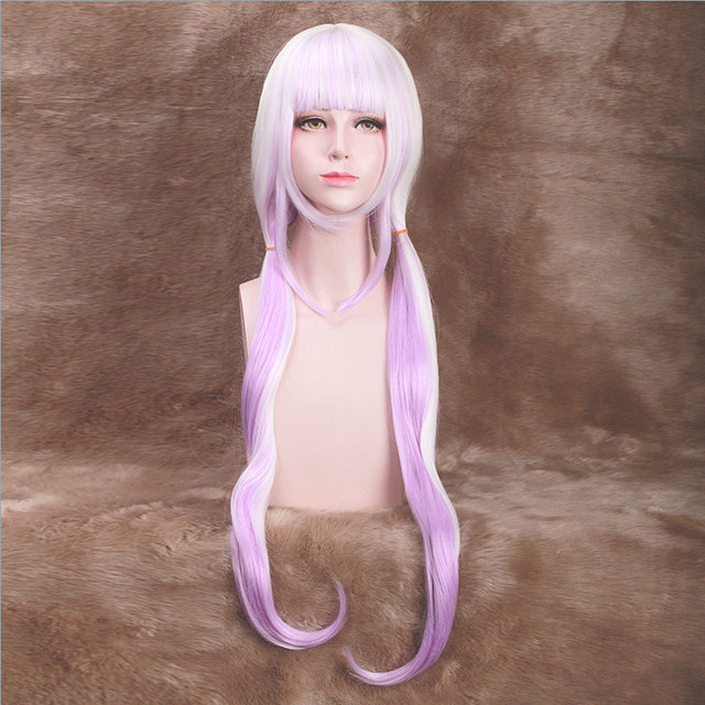 High Quality Miss Kobayashi's Dragon Maid Kanna Kamui Cosplay Wig 80cm Long  Straight + 6 Balls Anime Costume Party