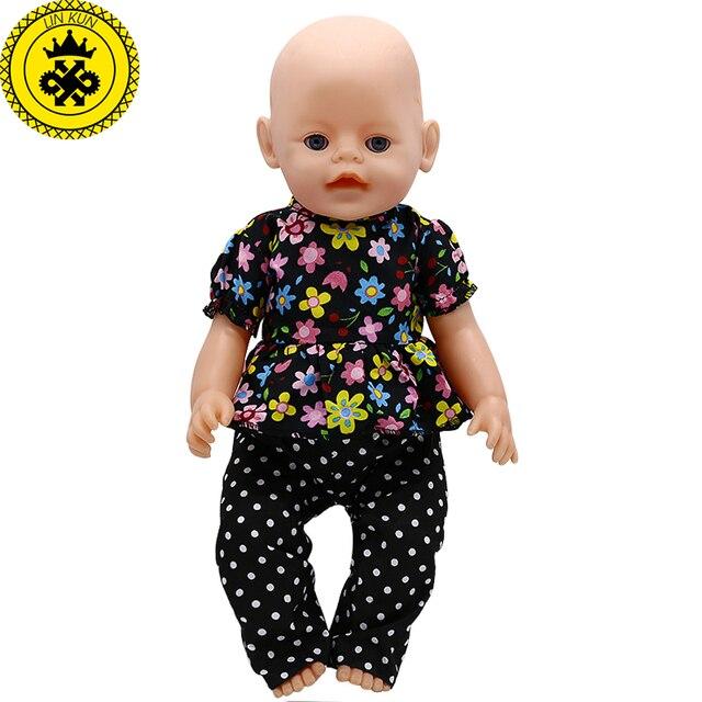 Roupa Da Boneca do bebê Floral Shirt + Calças Terno Fit 044 43 cm Boneca Acessórios Melhores Presentes de Aniversário Do Bebê