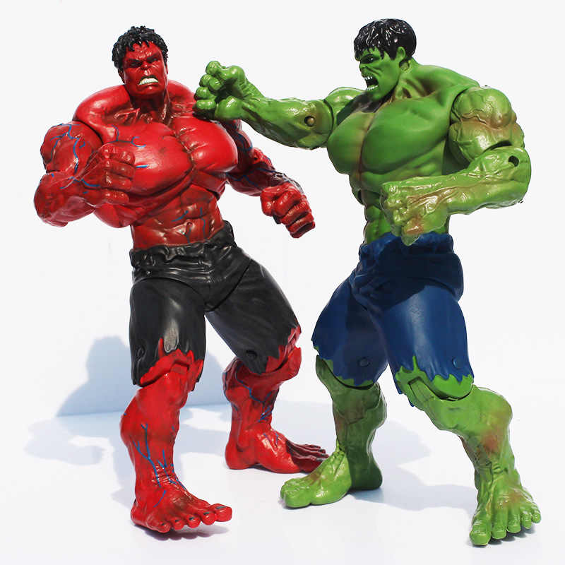 Filme de Super Herói The Hulk Hulk Figuras Brinquedos PVC Action Figure Toy Red & Green 25 cm Grande Presente