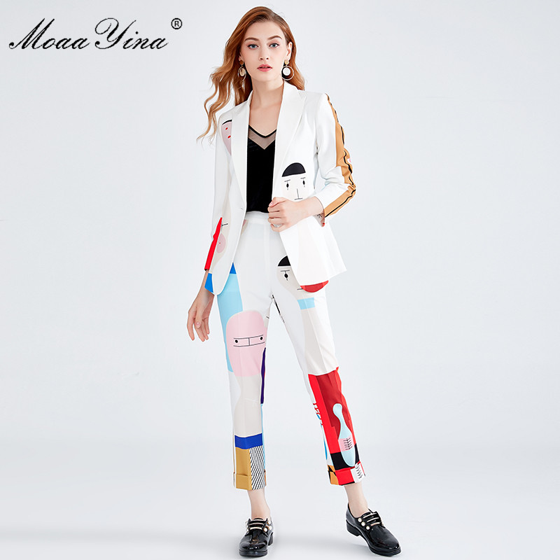 MoaaYina Fashion Designer Set Autumn Winter Women Long sleeve Cartoon Print loveliness Elegant Suit Elastic waist