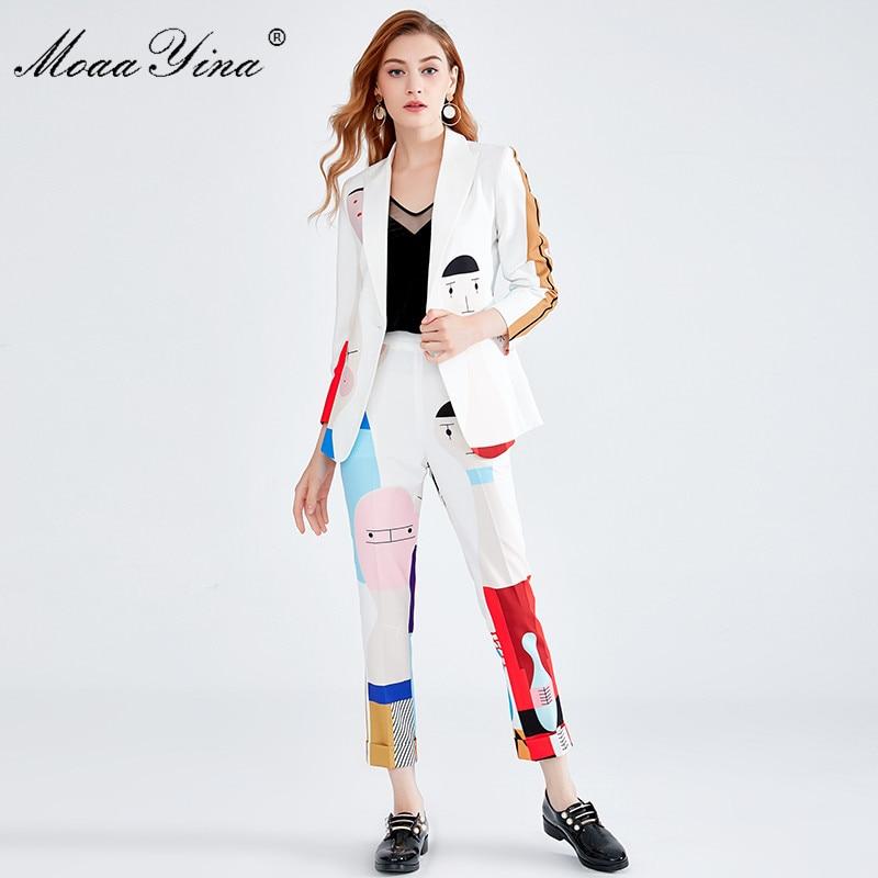 Moaayina 패션 디자이너 세트 가을 겨울 여성 긴 소매 만화 인쇄 사랑 스러움 우아한 정장 + 탄성 허리 투피스 양복-에서여성 세트부터 여성 의류 의  그룹 1