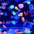 Free Shipping 10Pcs/Bag Luminous Beautiful SeaWorld neon Glowing stones conch shells starfish decoration for Fish tank/aquarium