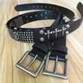 Cowboy Punk Cinturón Remache Cinturón de Cuero Genuino de Los Hombres Del Cráneo de Metal Para Hombre Cinturones Ceinture Homme Hombres Jeans Correa Ancha Cinturones TBT0051