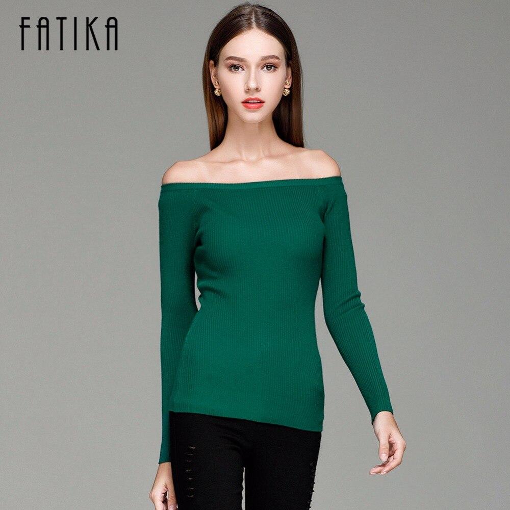 FATIKA Herbst und Winter Grund Frauen Pullover schlitz ausschnitt Liebsten Pullover verdickung Pullover Aus Schulter Pullover Pullover
