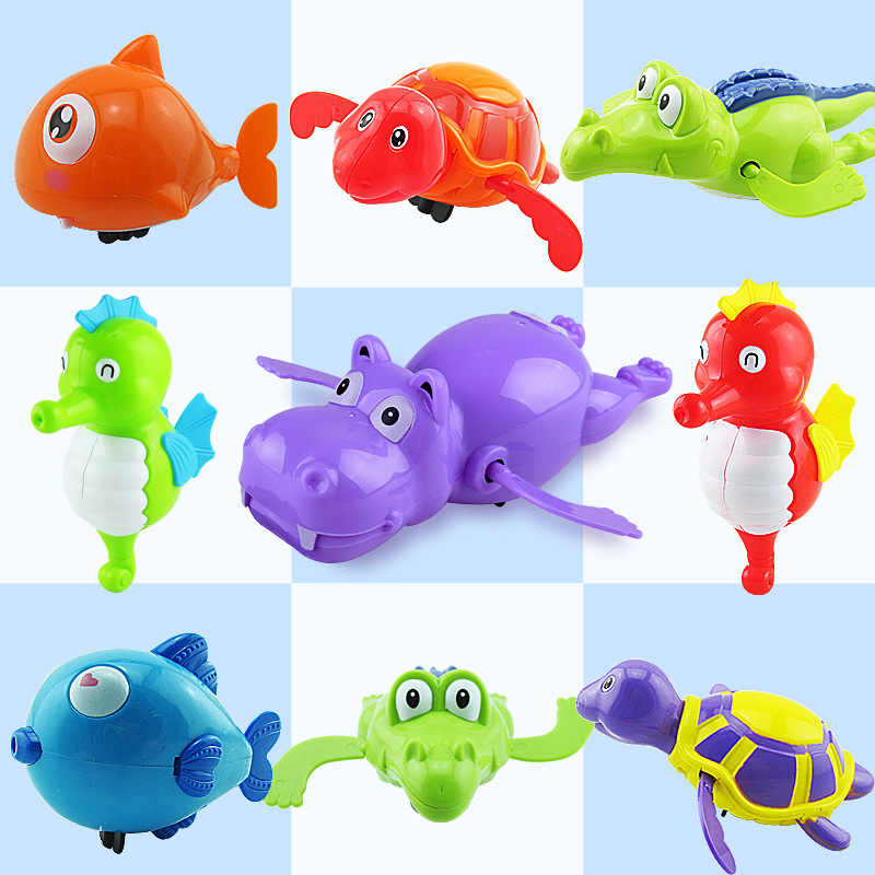 Clockwork Toy Random Color Swim Animal Hippo Crocodile Tortoise Seahorse Fish Education Wind Up Toys For Children Birthday Gifts