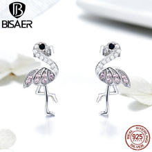 BISAER Popular 925 Sterling Silver Pink Flamingos Stud Earrings Women Red Bird Flamingos Sterling Silver Earrings Jewelry ECE563(China)