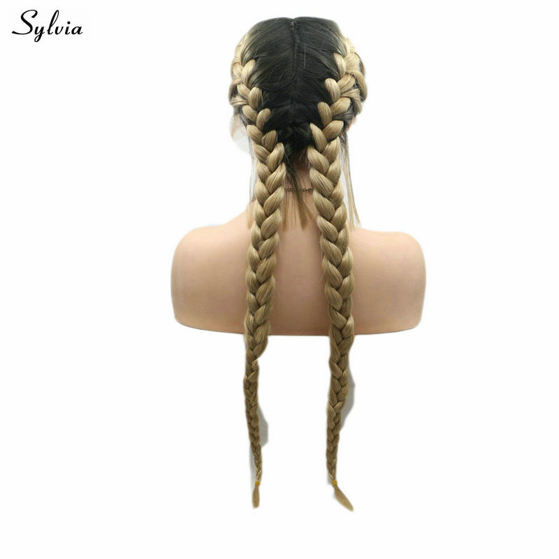 Sylvia 2x Twist Braids Wig Middle Part Hair Synthetic Lace Front Wigs For White Women Cosplay/Holiday/Party Drag Queen Glueless