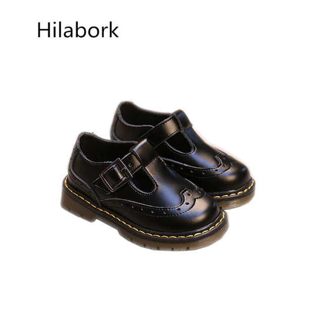 2017 spring new children's shoes Infants and young leather shoes HOOk & LOOP solid color boys and girls casual shoes size 21-25