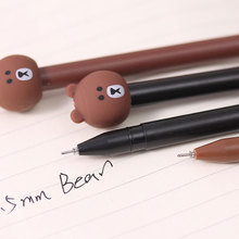 Creative Little bear modelling gel pen Kawaii students Writing Neutral pens Caneta Office School Stationery Supplies цена