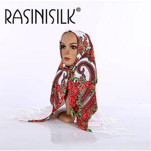 Image 5 - Russian Fringed  Big Square Scarf Shawl National Muslim Hijabs Headscarf Dual use Autumn Winter Ladies Print Warm Headband Women