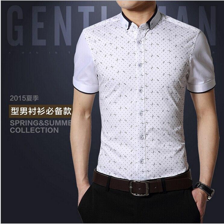 19 68 Hombre Camisas De Manga Corta Slim Fit Button Front Mas Tamano 3xl Contraste Remiendo Del Collar Camisas Hombres Camisas Casuales En Camisas