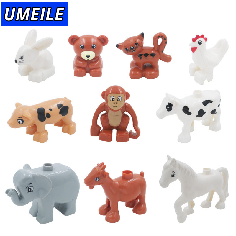 UMEILE 1pcs Building Large Particles Blocks Toys Animals DIY The Zoo Set Brick Brinquedos Baby Gift Compatible with Duplo