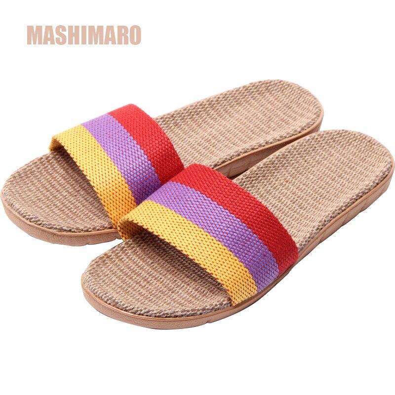 Mashimaro New Arrival Women's Linen Silppers Breathable Non-slip Fashion Indoor Slippers Women's Hemp Basic Slides Slippers