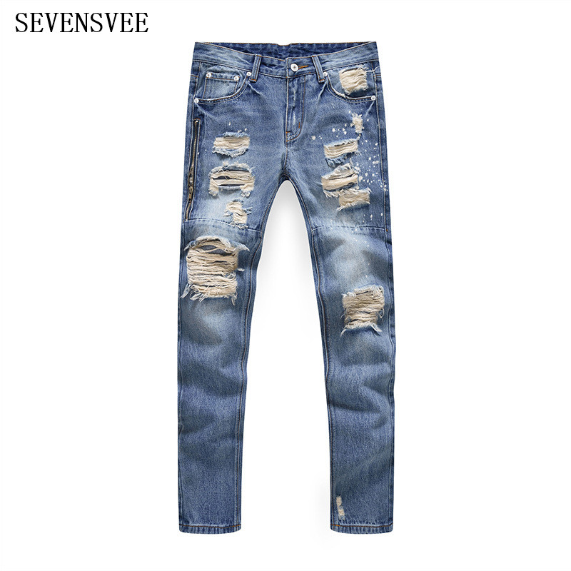 New Designer Mens Vintage Blue Fashion Ripped Biker Jeans For Men Slim Fit Side Zipper Jeans Personality Hole Denim Trousers 2017 fashion patch jeans men slim straight denim jeans ripped trousers new famous brand biker jeans logo mens zipper jeans 604