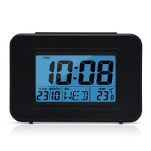 DYKIE Modern Large-Display Digital Alarm Clock led with Calendar Electronic Desk Table Clocks Room Thermometer Free Shipping digital thermometer tes 1312a free shipping