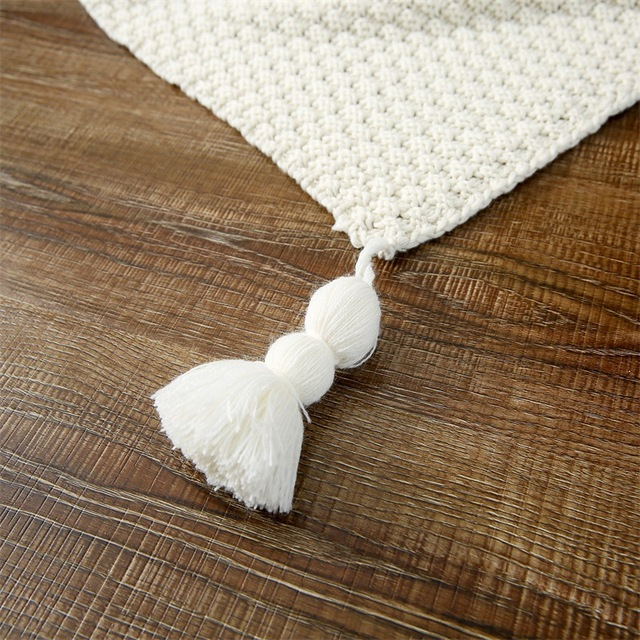 Knitted Cotton Blanket with Tassels
