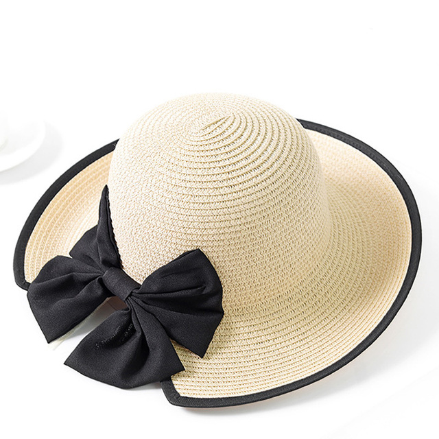 30e1d5d5 2018 New Wave Big Brim Women Straw Hat Female Stripe Bowknot Summer Sun Hat  UV Protection Foldable Elegant Girl Beach Cap