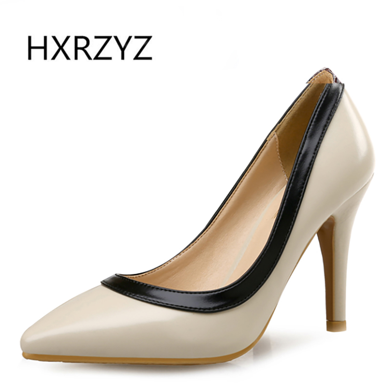 HXRZYZ Spring/autumn new fashion woman thin heel black and white heels pointed toe shoes women pumps women sexy super high heels free shipping 2016 spring autumn new increased internal woman shoes elastic band med heels pumps black red white woman shoes
