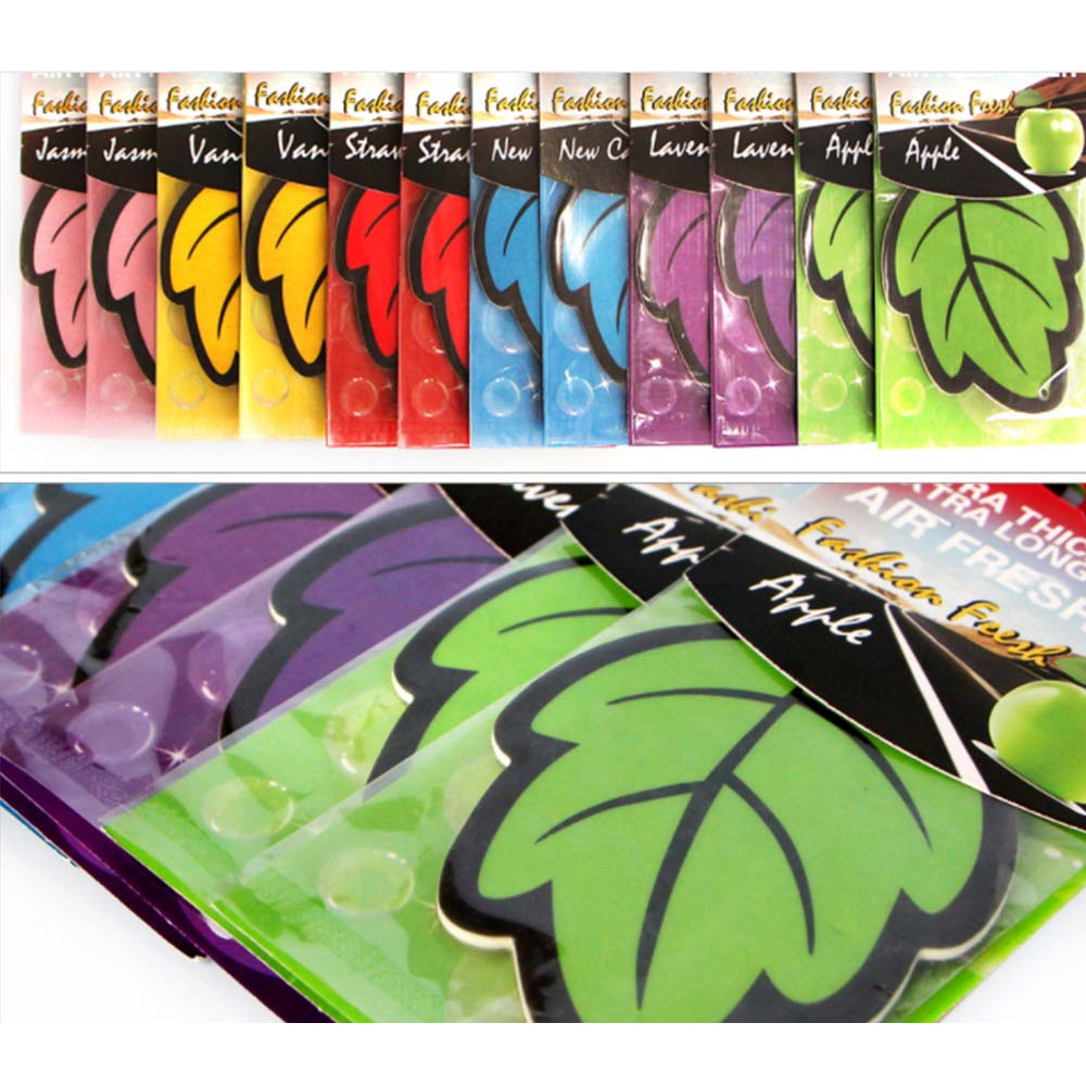 12 unids/lote papel de brillo automático colgante ambientador de aire de coche perfumado de vainilla/forma de hoja de fragancia