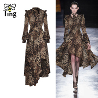Tingfly New Arrivals Runway Leopard Dress Midi Ruffles Asymmetrical Full Sleeve Party Dresses Elegant Fashion Vestidos Lady