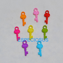 100pcs DIY Cute Jewelry Making Accessories Cartoon Key Acrylic Beads Mix Color Children Handcraft Department Plastic Fittings