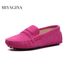 MIYAGINA Shoes Women 100% Genuine Leather Flat Shoes Casual Loafers Slip On Women's Flats Shoes Moccasins Lady Driving Shoes
