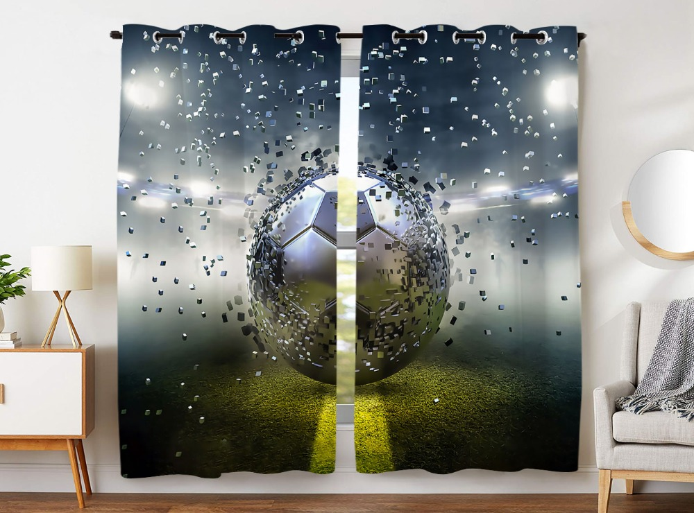 HommomH Curtains 2 Panel Grommet Top Darkening Blackout Room Football Victory Cheers