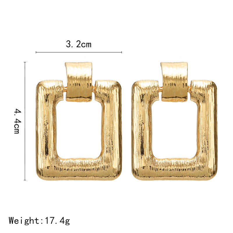 Unique Design Za Jewelry Gold Earrings 2019 Punk Statement Accessories Hollow Square Geometric Earrings Vintage Drop Earrings